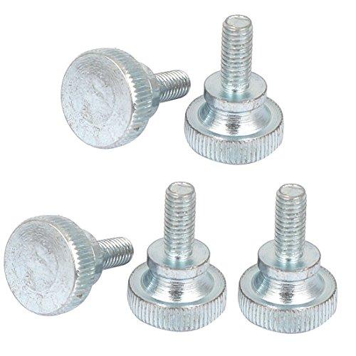 sourcing map – M5x 12mm acero al carbono Métricas cabeza plana moleteada pulgar tornillos tornillos 5pc