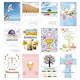 Edition Seidel Juego de 24 tarjetas de comunión con sobre (2 x 12) – Tarjeta de felicitación para comunión – Set de tarjetas (tarjetas plegables con sobre)