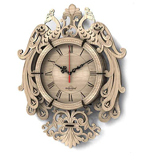 Teakpeak 3D Holzpuzzle Uhr, 33 STK Pfau Wanduhr Leise Uhr Modellbausatz Laser geschnitten Uhr Bausatz für Wohnzimmer Küche Schlafzimmer bar Cafe