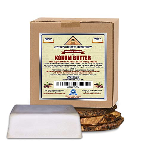 Cosmetic Grade, PURE KOKUM BUTTER JAR/BLOCK. Bulk, Odor Free Alternative to Raw, Soft Butters. Ideal Hard Base for DIY Balms, Creams, Candle and Hand Cream (INDIA) (10 LB)