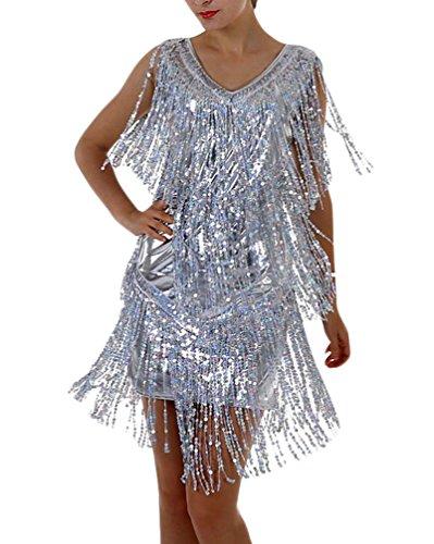 Vestidos Mujer Vestidos De Fiesta Elegantes Cortos De Noche Vestido Coctel Vintage Flash Lentejuelas con Flecos Sin Mangas V Cuello Fashion Vestidos Verano Vestidos Cortos