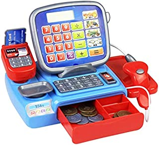 XINdream Electronic Kids Cash Register, Learning Resources Pretend Play Calculator Classic Counting Toy with Working Supermarket Shop, 73 Pieces, Ages 3+