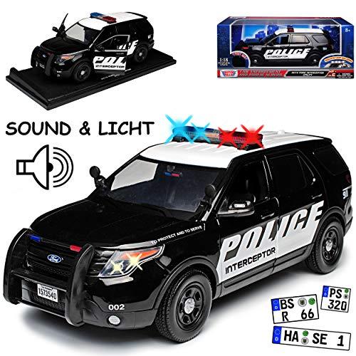 Motormax Ford Interceptor Explorer XLT Utility Police Polizei Schwarz 5. Generation Ab 2010 mit Licht und Sound 1/18 Modell Auto
