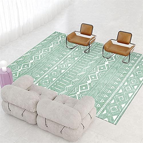 AU-OZNER Teppich für Schlafzimmer,Grüner Teppich, geometrische Muster-Yoga-Pad, Spitze, bequemer Teppich Teppich Muster -Grün_40x60 cm.
