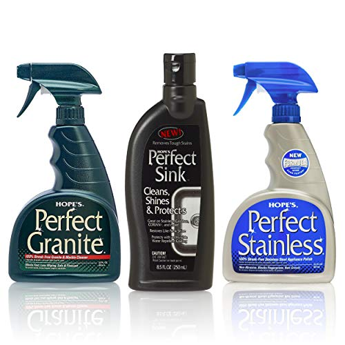 HOPE'S Stainless, Granite, and Perfect Sink Bundle Streak Free Polishing Kitchen Cleaners Removes Stains, Restores, and Repels Water