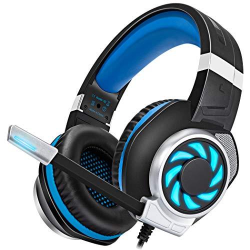 Stynice Gaming-Headset mit Mikrofon – Stereo immersiver Bass Over-Ear-Kopfhörer mit Geräuschunterdrückung und LED-Licht für PS4, PS5, Xbox One, PC, Laptop, 3,5 mm Kopfhöreranschluss (blau)