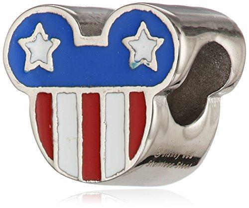 Disney Stainless Steel Mickey Enamel Americana Bead Charm