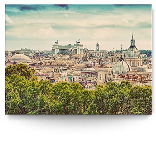 BilderKing Intensiv & Impostant 200x150cm großes Leinwand-Bild. Rom, Retro, Skyline als Wandbild auf 4cm tiefen Keilrahmen. Eindrucksvoller können Sie Ihren Raum Nicht in Szene setzen