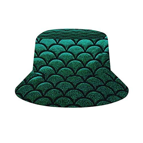 EINST Sombrero de sol estilo cubeta hombres mujeres plegable pescador sombrero de playa protección solar verde Vizsla perro, Hombre, color Balanza de pescado de sirena verde pastel, tamaño talla única