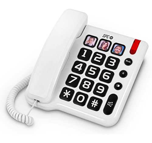 SPC Comfort Numbers teléfono Fijo con números Grandes y Tres Fotos con memorias directas Incluye Manos Libres