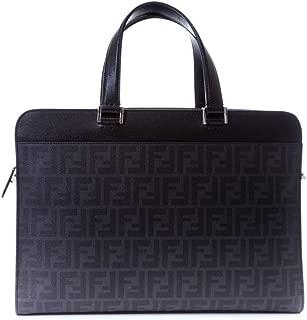 Fendi Zucca Slim Men'S Leather Briefcase W/Shoulder Strap, Black/Grey