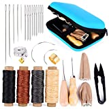 Leather Sewing Kit, Leather Working Tools and Supplies, Leather Working Kit with Large-Eye Stitching Needles, Waxed Thread, Leather Sewing Tools for DIY Leather Craft