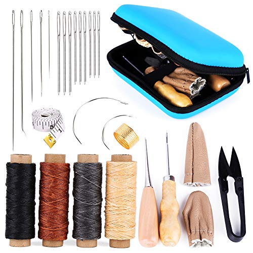 Leather Sewing Kit Leather Working Tools and Supplies Leather Working Kit with LargeEye Stitching Needles Waxed Thread Leather Sewing Tools for DIY Leather Craft