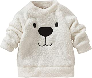 Xifamniy Infant Unisex Babies Thicken Pullover Solid Color Cartoon Bear Print Tops White