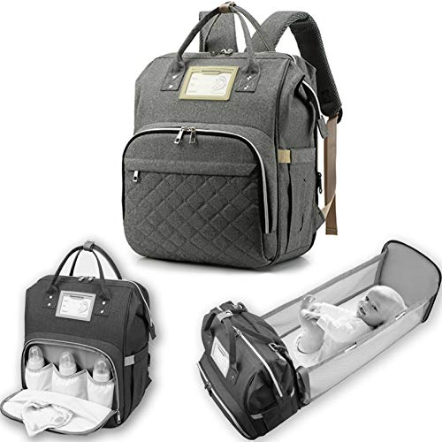 ALLSENTIK Nappy Bag Backpack with Changing Station, Extra Large 8 in 1 Nappy Bag with Foldable Bed Changing Mat Padding Cushion Stroller Clips Bottle Warmer USB Port Versatile Waterproof Fashion,Gray