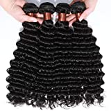 ANGIE QUEEN Hair Virgin Peruvian Deep Wave 4 Bundles Human Hair Extensions Pack of 4 22 24 26 28inch Unprocessed Deep Wave Weave Mixed Length Natural Black Color