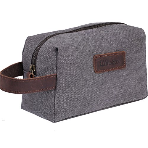 Wowbox Toiletry Bag for Men Canvas Travel Organizer Shaving Dopp Kit Cosmetic Makeup Bag Grey