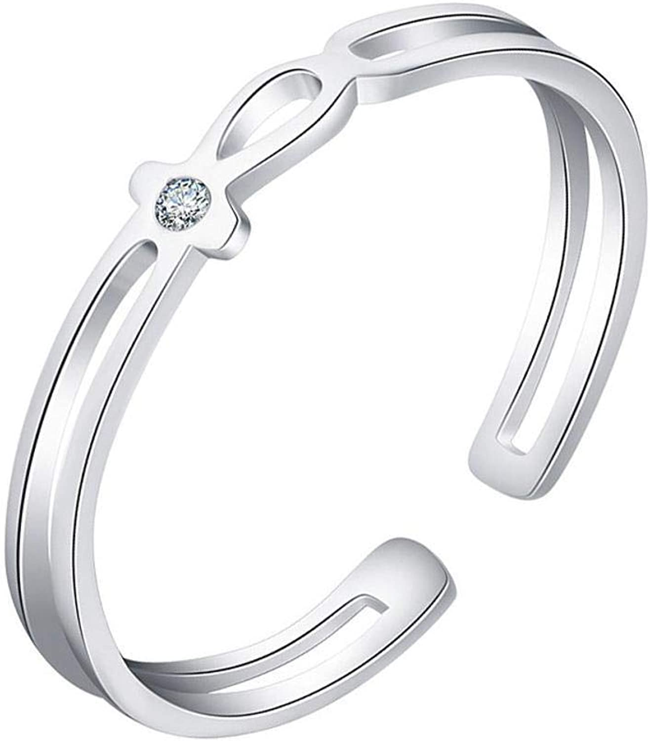 DTZH Rings Jewellery RingLadies Ring s925 Sterling Silver Diamond Open Ring Adjustable Give it to Dear People