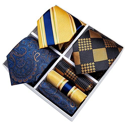 WODMB Caja de regalo 3 Paquete Moda Rayas Rayas Sistema de corbatas Silido Negocio Formal Necktie Accesorios Regalo para hombres (Color : Striped, Size : One size)
