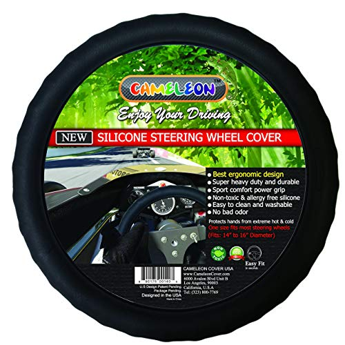 New Silicone Black Steering Wheel Cover- Racing Power Grip-ergonomic Handling (Black)