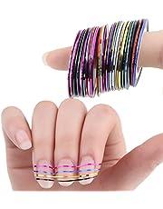 Nikgic 30pcs 30 Multicolor Pegatinas de Uñas Tiras de Alambre Herramientas de Uñas Franja Nail Art Decoración Sticker DIY Uñas Color Aleatorio (30 colors)