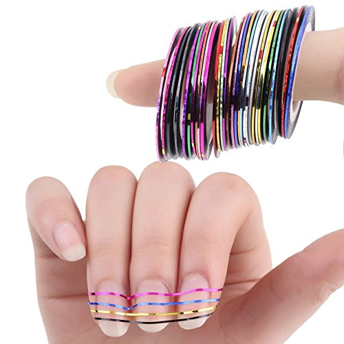 Fablcrew Rolls Striping Tape pour décorer nail art de Striping Foil Tips Tape Line mixte coloré 30pcs Nail Art
