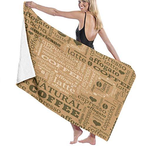 Toalla Shower Towels Beach Towels Impresión de bebida de café caliente marrón pálido Toalla De Baño 80X130CM