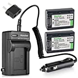 Kastar Battery 2 Pack + Charger for Sony NP-FV30 NP-FV40 NP-FV50 & Sony Handycam HDR-CX380 430V 900 580V 760V HDR-PJ540 650V HDR-PV710V 790V 810 HDR-TD30V FDR-AX100 DCR-SR DCR-SX HDR-CX HDR-XR Series