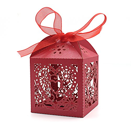KEIVA 70 Pack Love Heart Laser Cut Wedding Party Favor Box Candy Bag Chocolate Gift Boxes Bridal Birthday Shower Bomboniere with Ribbons (Red)