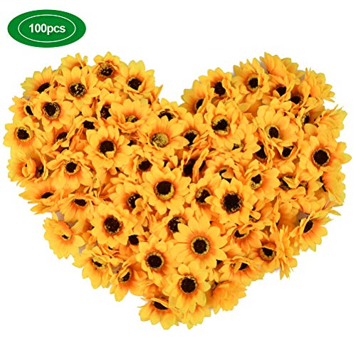 YANSHON 100PCS Artificial Sunflowers, 2.8'' Silk Sunflowers Simulation Flower Head for Home Party Wedding Cake Decoration, Bride Holding Flowers