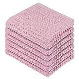 Lirex Strofinacci da Cucina (6-Pack), Asciugamani da Cucina Asciugatura Rapida Assorbimento Morbidi Canovaccio da Cucina 100% Cotone Straccio per Asciugare i Piatti, Lavabile in Lavatrice, Rosa