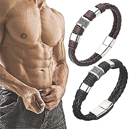 QDPJ Magnetic Masculinity Leather Bracelet For Men, Magnetic Masculinity Leather Bracelet, Magnet Closure Bracelet, Couple Braided Bracelets (Black+Brown)