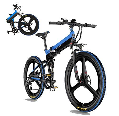 Coolautoparts Bicicleta Eléctrica Plegable 26 Pulgadas Ciclomotor 30km/h 400W Ruedas de Magnesio Bici Ciudad/Montaña Aluminio Autonomía 100KM Display LCD Bateria de Litio para Adultos [EU Stock]