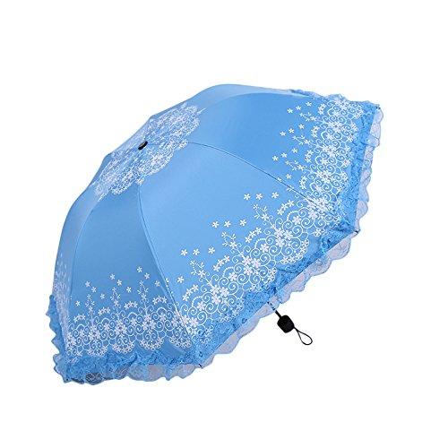 Fablcrew Parapluie Pliant Femme Dentelle Champignon Parapluie Eau Herbe Parapluie modèle Pluie et Soleil Ombre Double Usage Parapluie en Plastique Noir