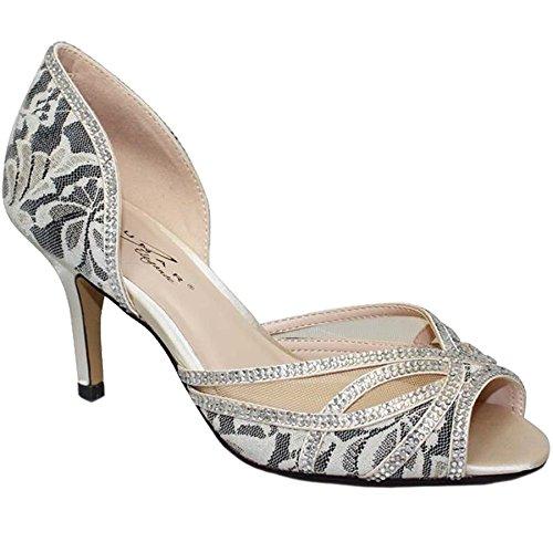 Fantasia Boutique® FLR358 Zara Peeptoe Strass Netz Slipper Pumps Low Heels - Beige, 6 UK / 39 EU