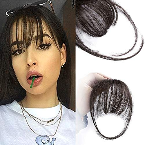 AISI QUEENS Clip in Bangs 100% Human Hair Extensions Reddish Brown Clip on Fringe Bangs with nice net Natural Flat neat Bangs with Temples for women One Piece Hairpiece ( Natural Color)