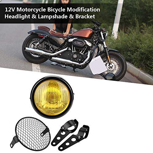 Head Lamp, Long Service Life Decorative Strong Hardness Motorcycle Head Lamp 12V with Lampshade for Bicycles