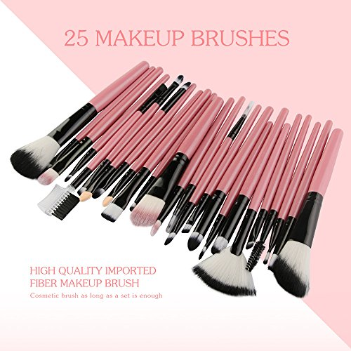Nourich Pinceau de Maquillage CosméTique, Pinceau Fard à PaupièRes Fard à PaupièRes Fixé à 25 PièCes, Pinceau de Maquillage, Pinceau de Maquillage Beauté, Sac de Fond de Teint Maquillage Brosse (Pink)