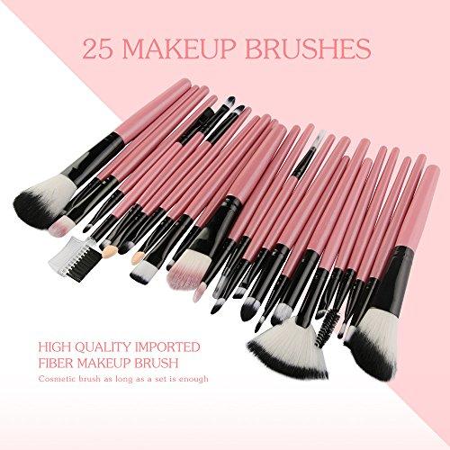 Mingfa Make-up-Pinsel-Set für Grundierung, Augenbrauen, Eyeliner, Rouge, Lidschatten, 25-teilig Gr. Einheitsgröße, rose
