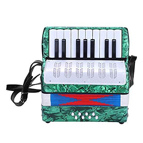 Acordeón A Piano, Contrabajo 17 Teclas 8 Botón De La Mano del Piano Acordeón Acordeón Luz Educación Instrumento Musical con El Niño Manual De Buen Estudiante Principiante (Azul),Verde