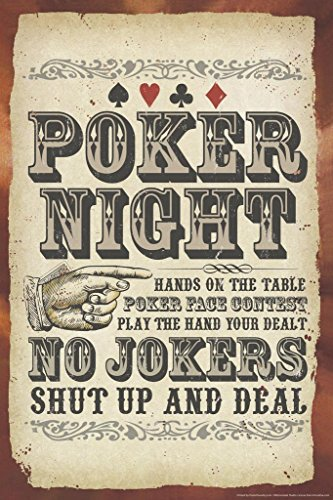 Poker Night Sign No Jokers Cool Wall Decor Art Print Poster 24x36
