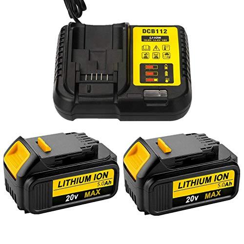 2 batterie agli ioni di litio da 20 V 5,0 Ah con caricatore DCB112 3A per Dewalt 18 Volt DCB180, DCB181, DCB182, DCB184, DCB201, DCB201-2, DCB200, DCB200-2, DCB204-2, DCB205-2