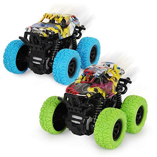 2 Stück Monster Truck Spielzeug ab 3 Jahren,Reibungsbetriebene Rennwagen LKW Zurückziehen,360 Grad Rotierende Trägheit Fahrzeug Spielzeugauto für Kinder