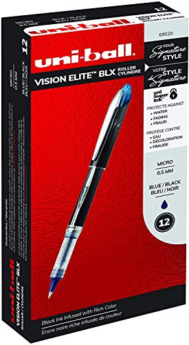 uni-ball Vision Elite BLX Infusion Rollerball Pens, Micro Point (0.5mm), Red/Black, 12 Count