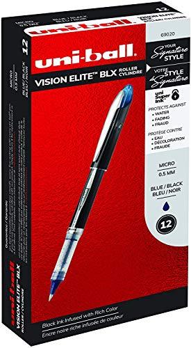 Uni-Ball Elite BLX Series Stick Rollerball Pens, Micro Point, Purple/Black Ink, 12 Count