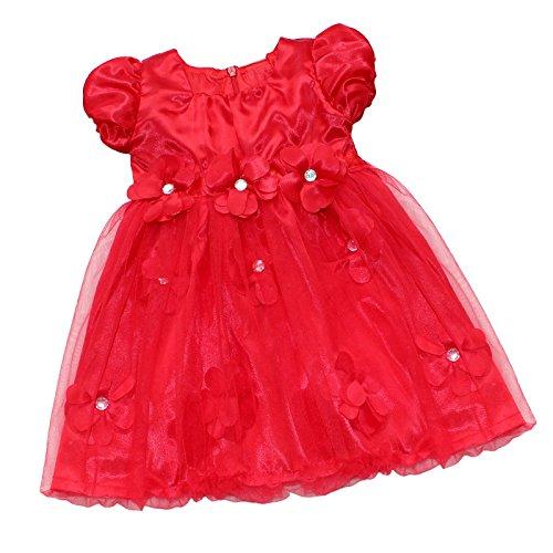 TiaoBug Bébé Fille Robe de Baptême Robe de Soirée Fleur Pétales Tutu Robe avec Bandeau de Fleur Costume Déguisement de Noël Robe Rouge 6-24 Mois Rouge 12-18 Mois