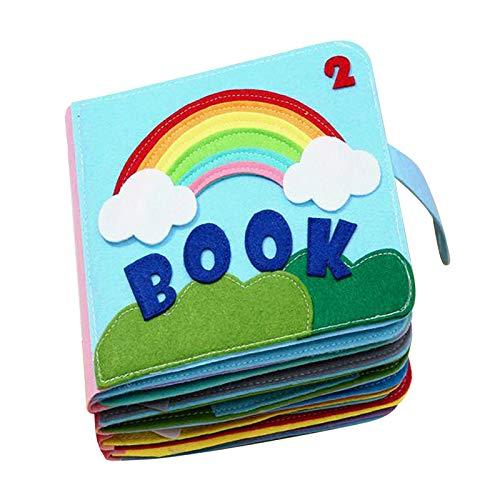 Hellery Felt Quiet Books Libro Ultra Suave para Bebés Touch and Feel Libro de Tela Libro Sensorial