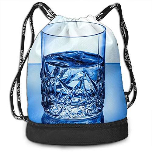 KKLDOGS Mochila con cordón, color azul hielo con estampado de taza de cristal para deporte, viajes, gimnasio, mochila