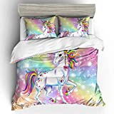 MAYIBO Unicornio Rosado de la impresión Floral Duvet Cover Set para niñas Fácil Cuidado de la Cremallera de Cierre de Esquina Lazos lecho Completa,Unicorn c,King102*90in