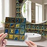 Hiser 30 Piezas Adhesivos Azulejos Pegatinas para Baldosas del Baño/Cocina 3D Impresión de Mosaico - Mármol Clásico Resistente al Agua Pegatina de Pared Decorativos 10x10cm (Amarillo Azul)